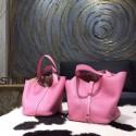 Imitation Hermes Picotin Lock Bag 18cm/22cm Taurillon Clemence Palladium Hardware Hand Stitched, Pink 5P RS02888