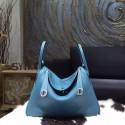 Replica Cheap Hermes Lindy 26cm/30cm Taurillon Clemence Calfskin Bag Hand Stitched, Blue Jean CC75 RS17294