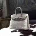Replica Hermes Birkin 35cm Natural Lizard Skin Bag Handstitched Palladium Hardware, Ombre/Shadow RS14924