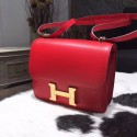 Replica Hermes Constance 18cm Swift Calfskin Gold/Palladium Hardware Handstitched, Rouge Casque Q5 RS04072