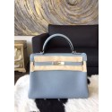 Replica Hermes Kelly 28cm Togo Calfskin Bag Handstitched Palladium Hardware, Bleu Lin CKJ7 RS17721