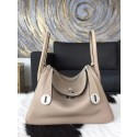 Replica Hermes Lindy 26cm/30cm Taurillon Clemence Calfskin Bag Hand Stitched, Elephant Gray RS15621