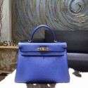 Replica Luxury Hermes Kelly 28/32cm Togo Calfskin Original Leather Bag Hand Stitched, Blue Electric 7T RS16417