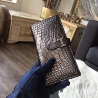 Hermes Bearn Wallet Matte Alligator Crocodile Gold Hardware Handstitched, Chocolat CK47 RS10517