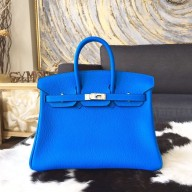 Hermes Birkin 25cm Taurillon Clemence Calfskin Bag Handstitched Palladium Hardware, Blue Hydra T7 RS12199