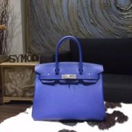 Hermes Birkin 30cm Togo Calfskin Bag Handstitched, Blue Electric 7T RS05927