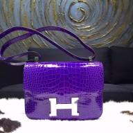 Hermes Constance 23cm Shiny Alligator Crocodile Original Leather Fully Handstitched Palladium Hardware, Ultraviolet 5L RS14930