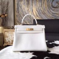 Imitation Hermes Kelly 25cm/28cm/32cm Togo Calfskin Bag Handstitched Gold/Palladium Hardware, Blanc RS20946