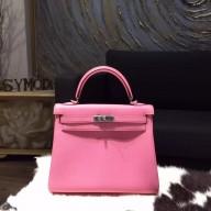 Top Hermes Kelly 25cm Togo Calfskin Original Leather Bag Handstitched Palladium Hardware, Pink 5P RS20013