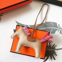 Cheap Hermes Rodeo Horse Bag Charm In Beige/Camarel/Pink Leather RS109212