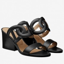 Fake Hermes Black Peace Sandals Women Shoes RS203220