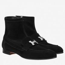 Replica Hermes Black Saint Honore Ankle Boots Women Shoes RS203221