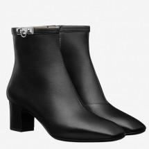 Copy Hermes Black Calfskin Power Low Boot Women Shoes RS203218