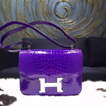 Best Hermes Constance 23cm Matte Alligator Crocodile Original Leather Handstitched Palladium Hardware, Ultraviolet 5L RS18587