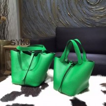 Best Hermes Picotin Lock Bag 18cm/22cm Taurillon Clemence Palladium Hardware Hand Stitched, Bambou 1K RS21873