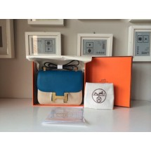 Best Imitation Hermes Constance 17cm Togo Calfskin Original Leather Hand Stitched R Stamp, Blue RS15297