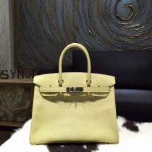 Best Quality Hermes Birkin 30cm Togo Calfskin Bag Handstitched Palladium Hardware, Jaune Poussin 1Z RS19555