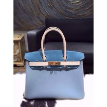 Best Quality Hermes Horseshoe Birkin 30cm Togo Handstitched Gold Hardware, Blue Lin J7, Blue Jean CC75, Parchemin 3C RS14149