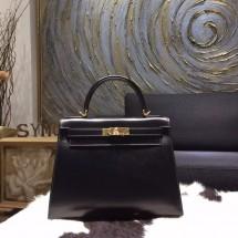 Best Replica Hermes Kelly 28cm Box Calfskin Sellier Rigide Bag Handstitched Gold Hardware, Noir RS15928