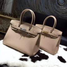 Cheap Fake Hermes Birkin 30cm Taurillon Clemence Bag Handstitched Gold/Palladium Hardware, Gris Tourterelle CK81 RS16138
