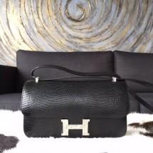 Copy AAAAA Hermes Constance Elan 23cm Lizard Skin Original Leather Handstitched Palladium Hardware, Noir Black RS17112