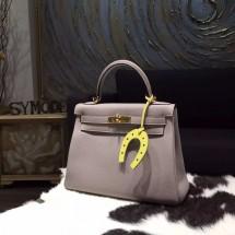 Copy Cheap Hermes Kelly 28cm Togo Calfskin Bag Handstitched Gold Hardware, Gris Tourterelle CK81 RS07843