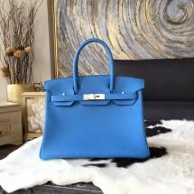 Copy Fashion Hermes Birkin 30cm Taurillon Clemence Bag Handstitched Palladium Hardware, Blue Paradise 2T RS16224