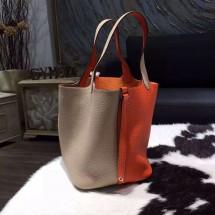 Copy Hermes Bi-Color Picotin Lock Bag 22cm Taurillon Clemence Palladium Hardware Hand Stitched, Orange CC93/Gris Tourterelle CK81 RS19960