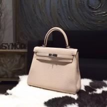Copy Hermes Kelly 28cm Togo Calfskin Bag Handstitched Palladium Hardware, Argile 1F RS21870