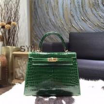 Designer VIP Hermes Shiny Alligator Crocodile Kelly 28cm Sellier Rigide Bag Gold Hardware Handstitched, Vert Fonce CK67 RS08257