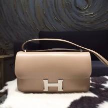 Fake AAAAA Hermes Constance Elan 23cm Tedelakt Calfskin Leather Bag Handstitched Gold Hardware, Argile 1F RS20356