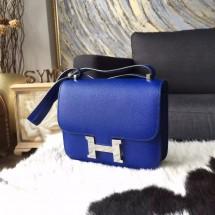 Fake Fashion Hermes Constance 18cm Epsom Calfskin Handstitched Palladium Hardware, Blue Electric 7T RS08404