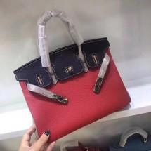 Fake Hermes Horseshoe Birkin 30cm Epsom Calfskin Bag Handstitched Palladium Hardware, Rose Confetti 1Q/Blue Atoll 3P/Electric Blue 7T RS05845