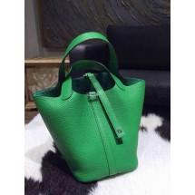 Fake Hermes Picotin Lock Bag 22cm Taurillon Clemence Palladium Hardware Hand Stitched, Bambou 1K RS18683