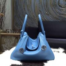 Fake Imitation Hermes Lindy 26cm/30cm Taurillon Clemence Calfskin Bag Handstitched, Blue Paradise 2T RS17317