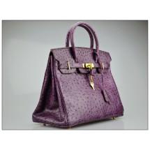 Copy Hermes Autruche Ostrich Birkin 30cm Bag Hand Stitched Gold Hardware Handstitched, Violet 5C RS12179