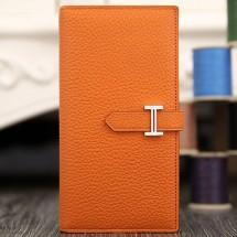 Hermes Bearn Gusset Wallet In Orange Leather RS14931