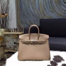 Hermes Birkin 25cm Epsom Calfskin Bag Handstitched Palladium Hardware, Etoupe CK18 RS10167