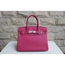 Hermes Birkin 25cm Lizard Skin Original Leather Bag Handstitched Silver Hardware, Fuschia Pink 5J RS01696