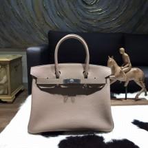 Hermes Birkin 25cm Taurillon Clemence Calfskin Bag Hand Stitched Palladium Hardware, Gris Tourterelle CK81 RS12519