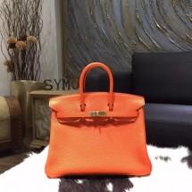 Hermes Birkin 25cm Togo Calfskin Bag Handstitched Gold Hardware, Orange CK93 RS00609