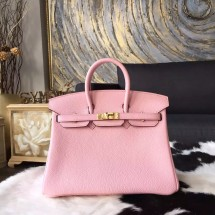 Hermes Birkin 25cm Togo Calfskin Bag Handstitched Gold/Palladium Hardware, Rose Sakura 3Q RS12173