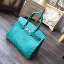 Hermes Birkin 30cm Autruche Ostrich Bag Palladium Hardware Handstitched, Vert Foret CC64 RS14679
