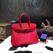 Hermes Birkin 30cm Epsom Calfskin Bag Handstitched Gold Hardware, Rouge Casaque Q5 RS00097