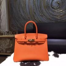 Hermes Birkin 30cm Togo Calfskin Bag Handstitched Gold Hardware, Orange CK93 RS02240