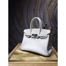Hermes Birkin 30cm Togo Calfskin Bag Handstitched Palladium Hardware, Blanc RS05342