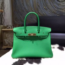 Hermes Birkin 30cm Togo Calfskin Bag Original Leather Hand Stitched Gold Hardware, Bambou 1K RS16713
