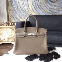 Hermes Birkin 30cm Togo Calfskin Bag Original Leather Handstitched Palladium Hardware, Etoupe CK18 RS18622