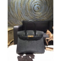 Hermes Birkin 35cm Epsom Calfskin Leather Bag Gold Hardware Handstitched, Noir CK89 RS09093