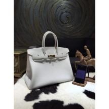 Hermes Birkin 35cm Togo Calfskin Bag Handstitched Gold Hardware, Blanc CK01 RS11757